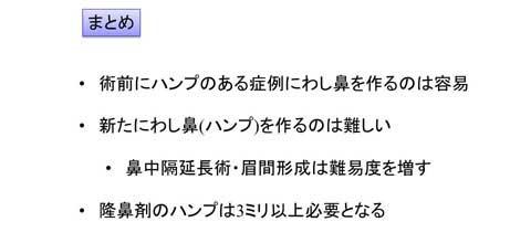 日本人のわし鼻修正でのスライド説明