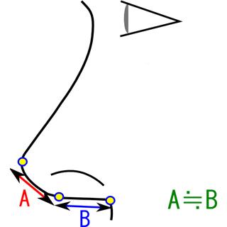 鼻先から角度を変える位置